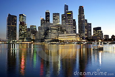 Singapore city reflections at night