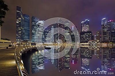 Singapore City Skyline Marina Bay Boardwalk Night