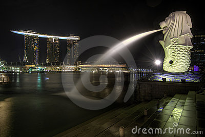 Singapore City Skyline at Merlion Park 2