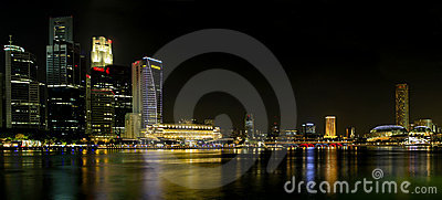Singapore City Skyline at Night Panorama