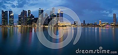 Singapore City Skyline Panorama at Twilight