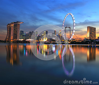 Singapore city skyline at sunset time