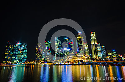 Singapore city skyline view of business district in the night ti Editorial Stock Image