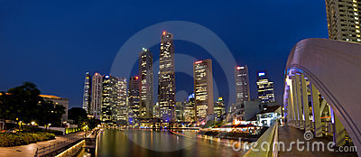 Singapore cityscape at night Editorial Stock Image