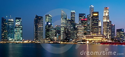 Singapore Cityscape Panorama Editorial Stock Photo