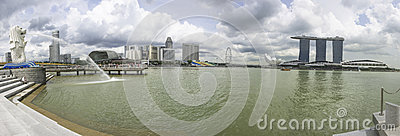 Singapore Cityscape Panorama Editorial Photography