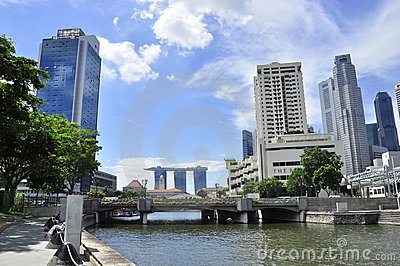 Singapore from claks Quay over marina bay sands Editorial Stock Photo
