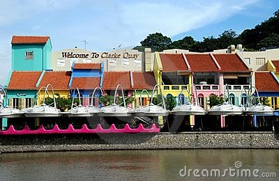 Singapore: Colourful Clarke Quay Editorial Photo