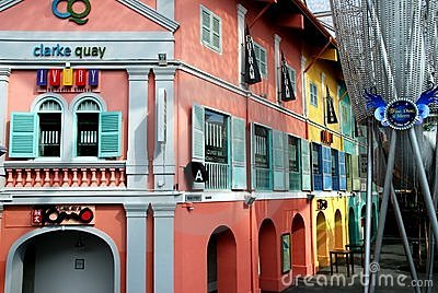 Singapore: Colourful Clarke Quay Editorial Stock Image