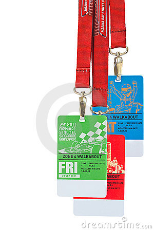 Singapore F1 Night Race passes Sept 2011 Editorial Stock Photo