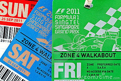 Singapore F1 Night Race passes Sept 2011 Editorial Stock Image