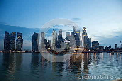 Singapore Financial District CBD Skyline Reflection at Night Editorial Stock Photo
