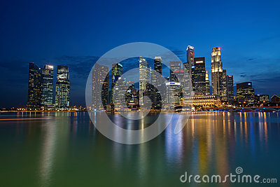 Singapore Financial District CBD Skyline Reflection at Night