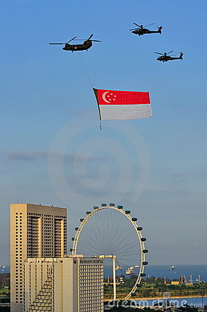Singapore flag fly past during NDP 2010 Editorial Photography