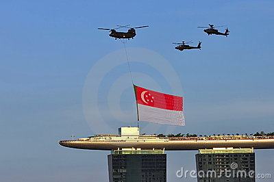 Singapore flag fly past during NDP 2010 Editorial Photo