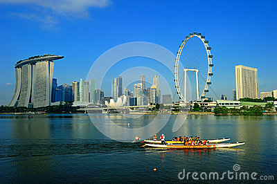 The Singapore Flyer and Cityscape Editorial Photography