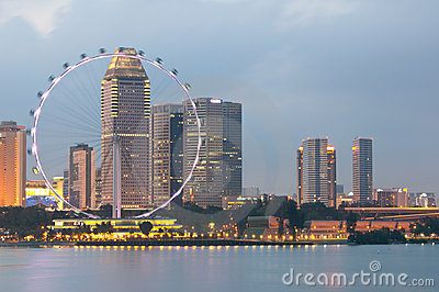 Singapore Flyer at Dusk Editorial Photo