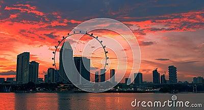 Sunset singapore skyline