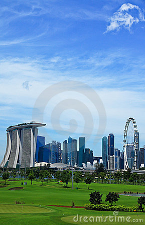 Green lawn and high rise-Singapore