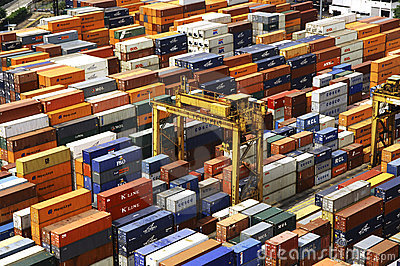 Singapore: Harbor, containers Editorial Stock Image