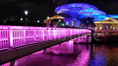 Tourist boat at Clarke Quay stock video footage