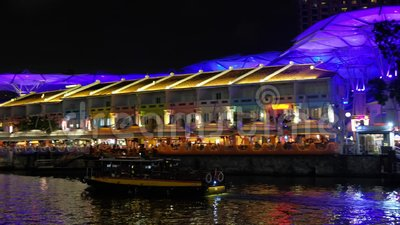 Tourist boat at Clarke Quay stock video
