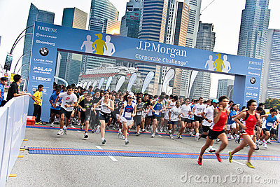 Singapore JP Morgan Corporate Challenge 2011 Editorial Stock Photo