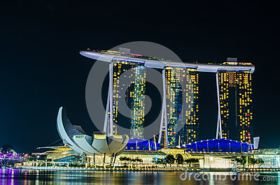 SINGAPORE - June 6 : Marina Bay Sands at night