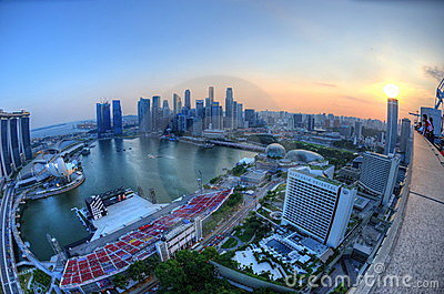 Singapore Marina Bay aerial view Editorial Image