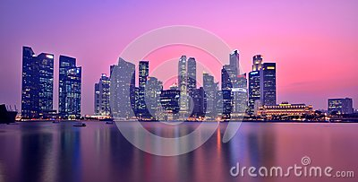 Singapore Marina Bay Panorama Editorial Photo