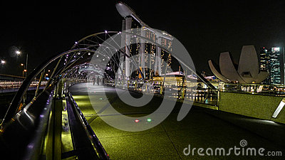 Singapore Marina Bay panorama at the night