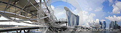 Singapore Marina Bay Sands city skyline Panorama Editorial Stock Image