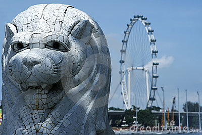 Singapore city merlion and flyer