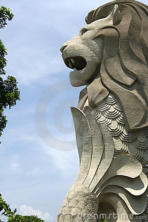 Singapore Merlion Picture Symbol on Singapore Merlion Statue