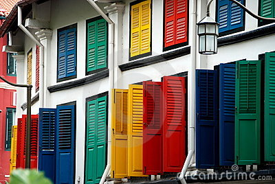 Singapore: Multi-coloured Shutters in Chinatown