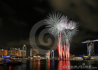 Singapore National Day Fireworks Display Editorial Image