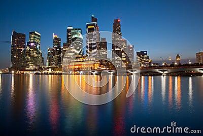 Singapore night skyline Editorial Stock Photo