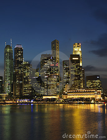 Singapore Nite Landscape 1 Editorial Stock Photo