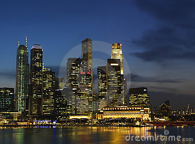 Singapore Nite Landscape 2 Editorial Photo