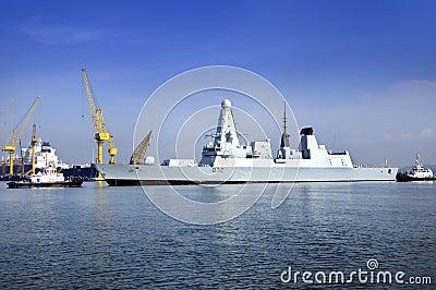 SINGAPORE-Oct 27: Dayview of British warship HMS Daring (D32) docks in Sembawang Shipyard. Editorial Stock Image
