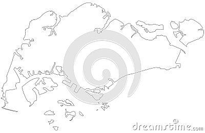 Singapore outline map Vector Illustration