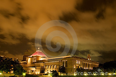Singapore Parliament House at night