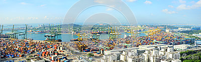 Singapore port Editorial Image