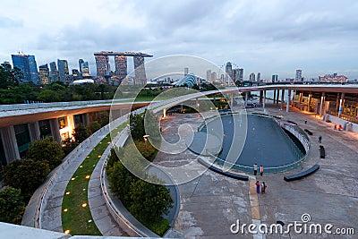 Singapores skyline at dusk
