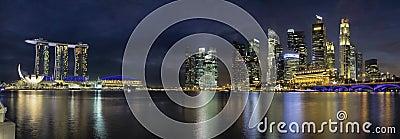 Singapore Skyline Along River Panorama
