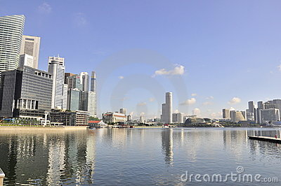 Singapore skyline and bay Editorial Photography