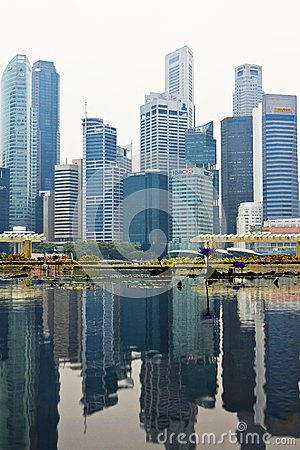 Singapore skyline of business district Editorial Stock Photo