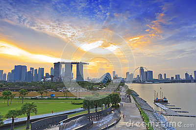 Singapore cityscape when sunset