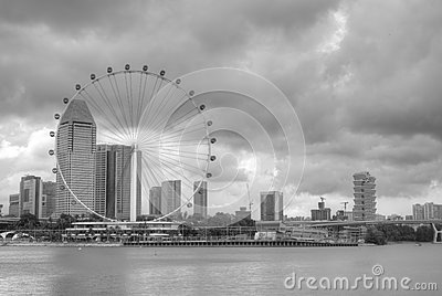 Singapore skyline featuring the Singapore Flyer Editorial Stock Photo