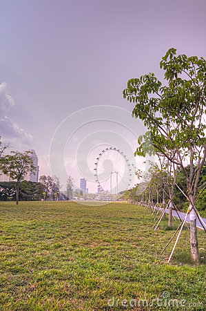 Singapore skyline featuring the Singapore Flyer